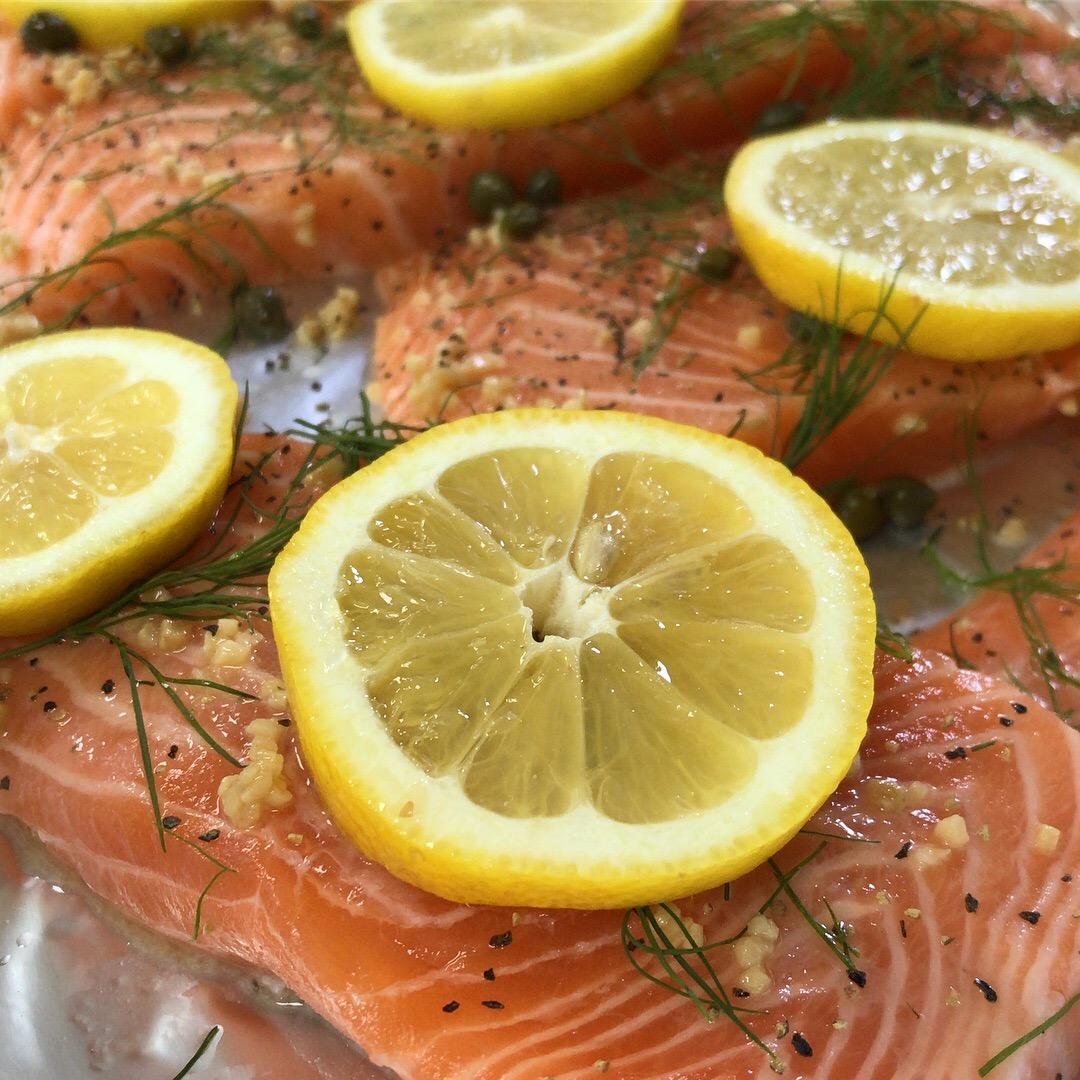 Lemon Dill Salmon Stock Image